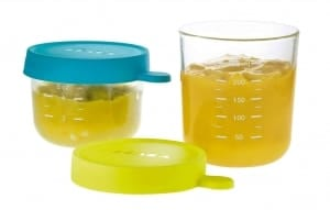 Béaba Glass & Silicone Containers - Set of 2 (5 oz and 8 oz) Peacock/Neon