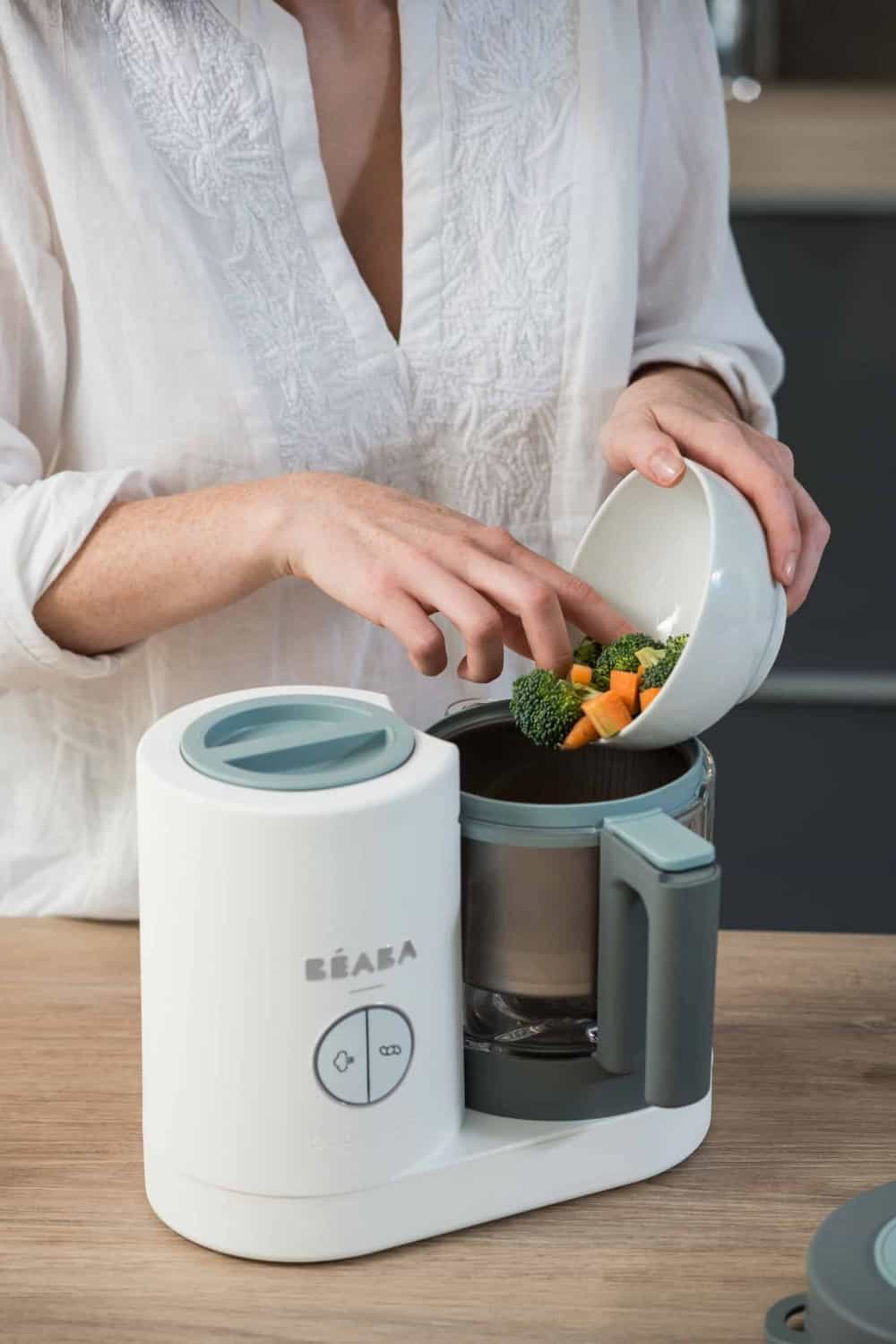 beaba babycook neo cloud steaming veggies