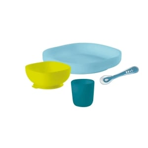 Béaba Silicone Suction Meal Set – Peacock