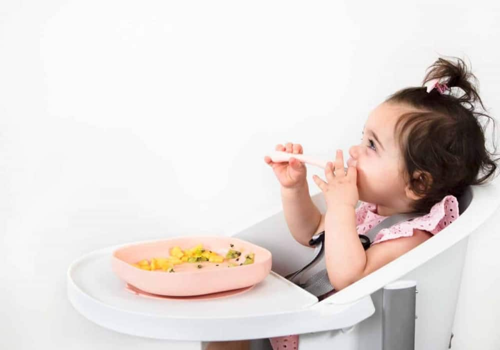 Toddler Smiling in High Chair with Meal Set in Use
