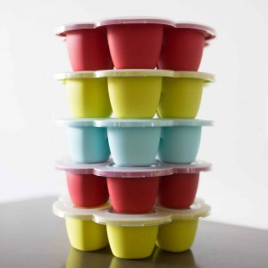 Beaba Multiportions™ Silicone Tray stacked on top