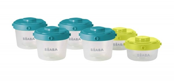 Béaba Clip Containers 2oz/ 4oz, Set of 6 - Peacock