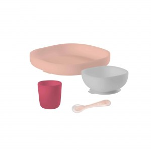 Silicone Suction Meal Set Rose