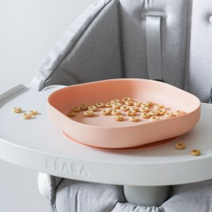 Beaba silicone plate in rose with cheerios