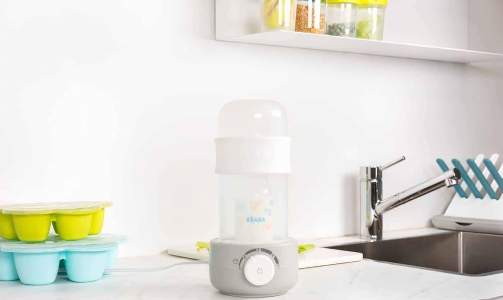 Beaba Babymilk Bottle Warmer Cloud on Kitchen Counter