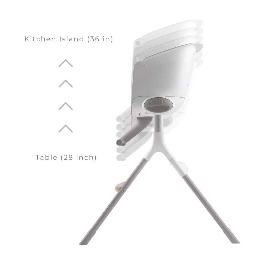 BEABA Up & Down High Chair can go from 28 inches to 36 inches