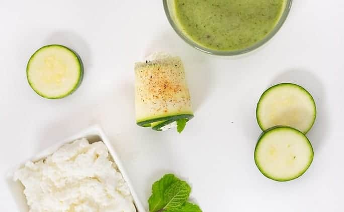 zucchini mint ricotta rolls