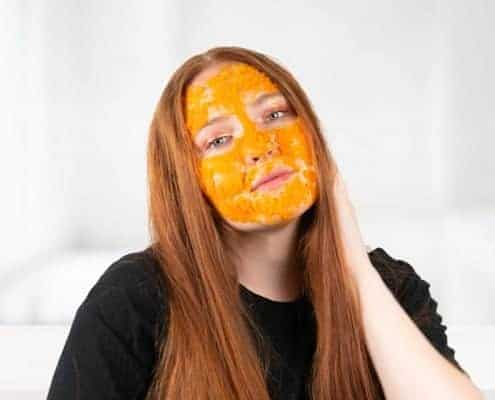 Woman with face mask on