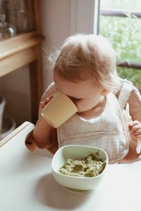 Toddler Drinking from Beaba Silicone Cup
