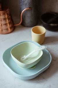 Silicone Suction Meal Set in Pastel on Table