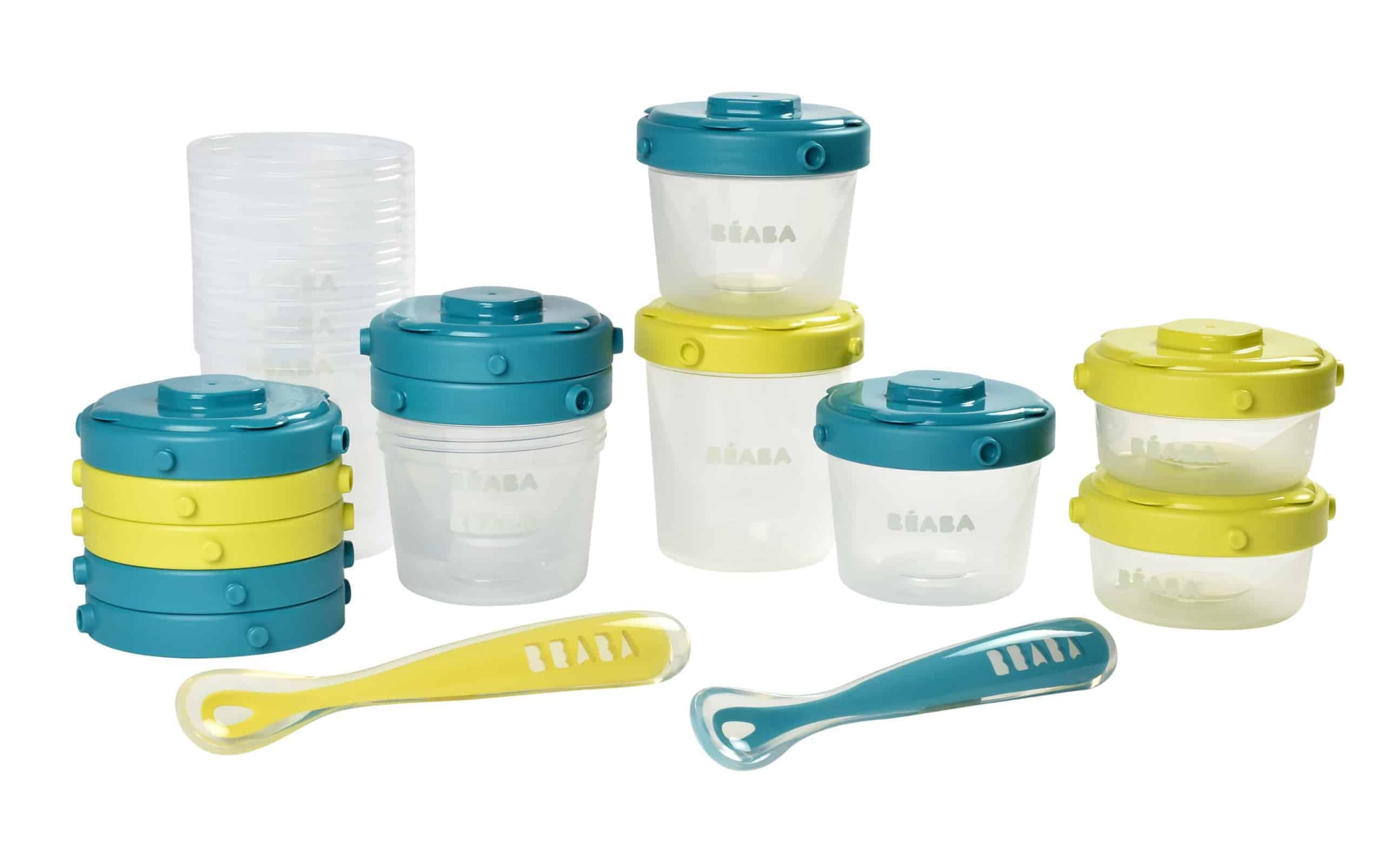 Peacock 4 oz and 7 oz for Snacks and Baby Food BEABA Clip Containers Set Also Includes 2 Silicone Spoons Set of 12 2 oz