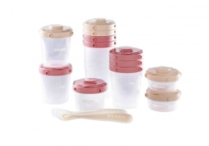 Beaba 12 piece Clip Containers and Silicone Spoons in rose