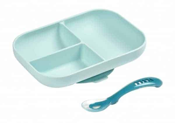 NEW! Béaba Divided Silicone Plate and Spoon Set - Sky