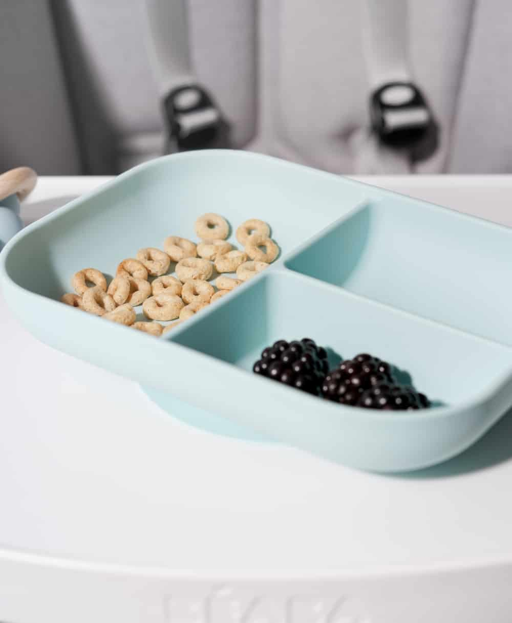 Beaba Divided Silicone Suction Plate in Rain with cheerios and blueberry