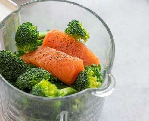 Salmon Broccoli in Babycook Bowl Before Steaming
