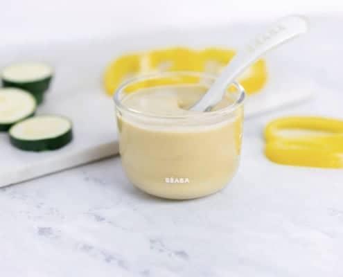 Zucchini Pepper Puree in Glass Container