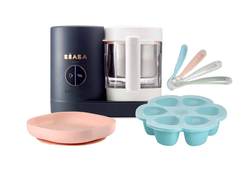 BEABA Chef Set in Sky on blue pink plate