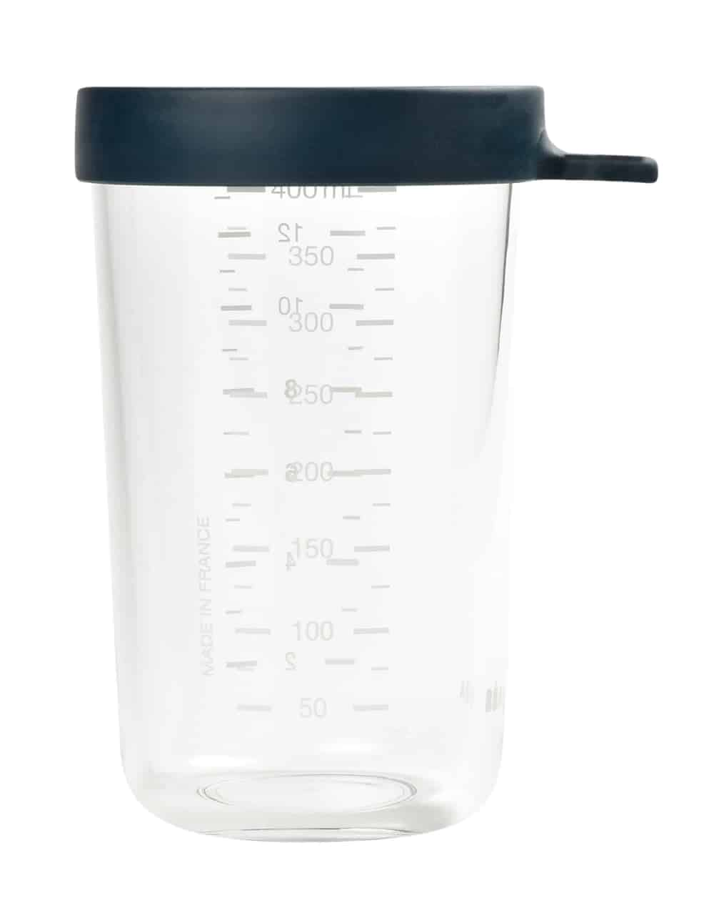 Beaba glass and Silicone Container in midnight 14 oz with measurements