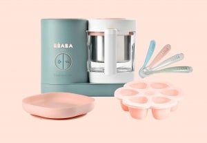 Beaba Mama Chef Set in Blush on pink background