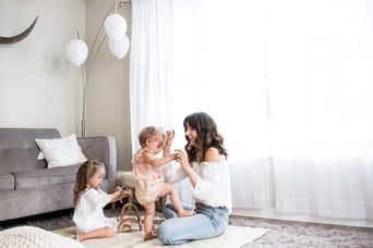 Mom playing with kids