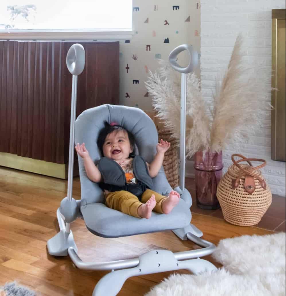 Happy baby in Beaba Up & Down Rocker