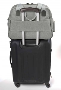 Beaba must have modern diaper bag on top of suitcase