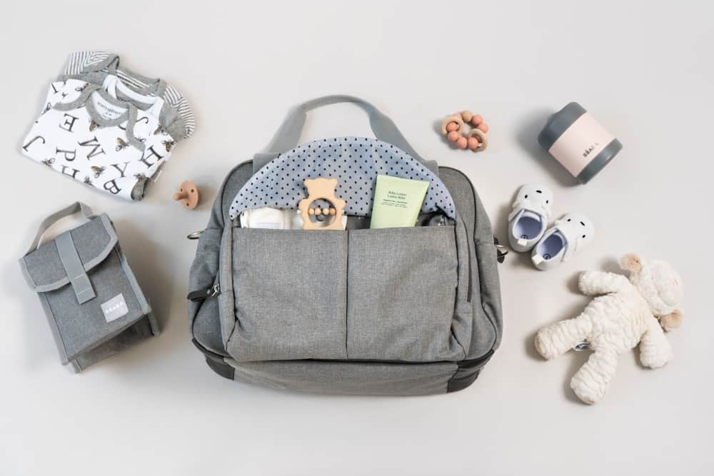 BEABA Geneva Diaper Bag Grey open front pocket