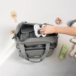 BEABA Geneva Diaper Bag Grey with hands