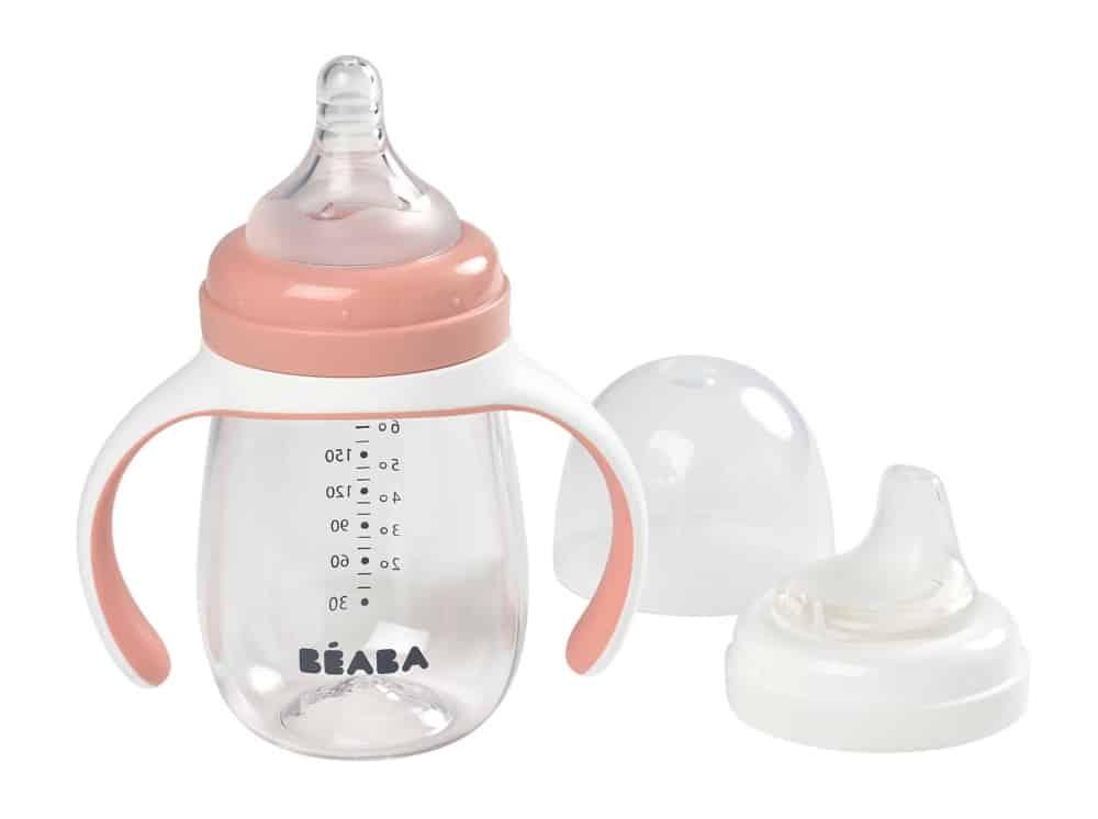Beaba 2-in-1 Training Bottle Rose Drinkware for Babies