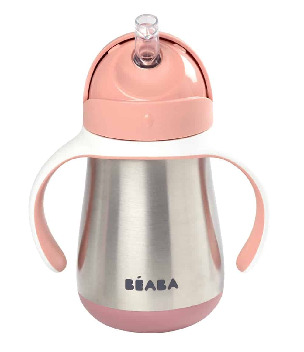 Beaba Stainless Steel Cup Rose Sippy Cup for Baby and Toddler