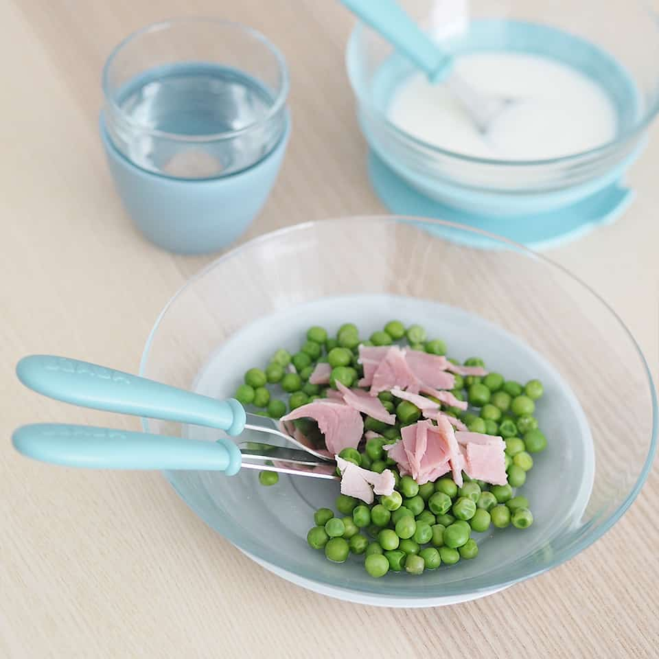glass meal set with food