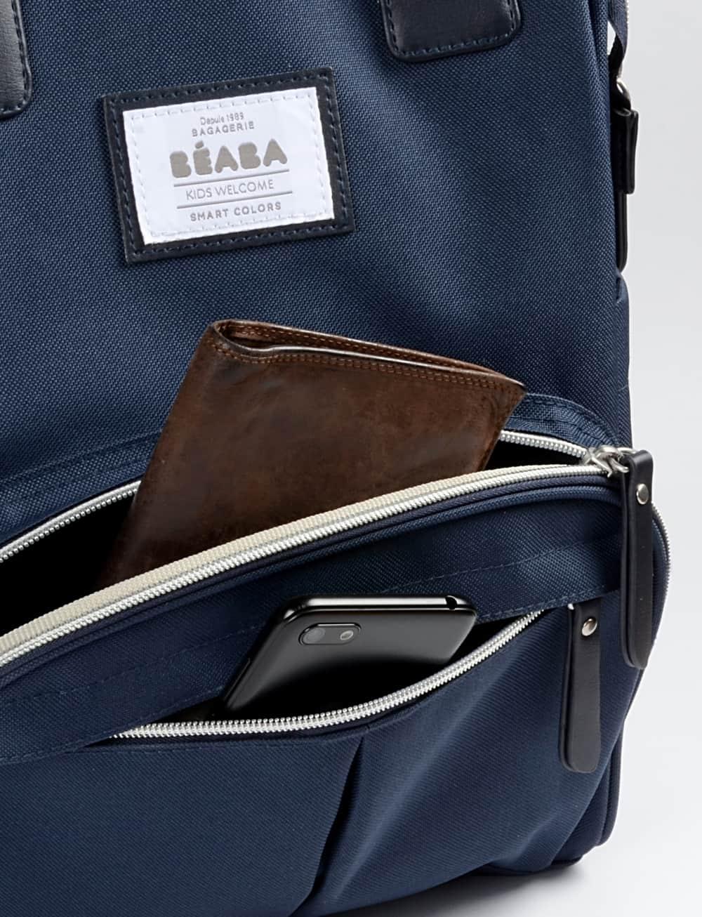 Front Open Pocket of Wellington Backpack Diaper Bag Navy