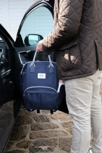 Dad Near Car Holding Wellington Backpack Diaper Bag Navy