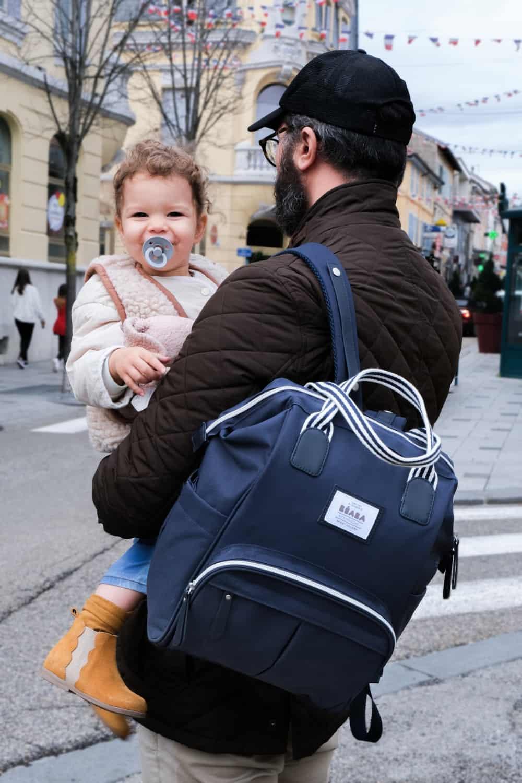 Dad Holding Daughter Wearing Wellington Backpack Diaper Bag Navy