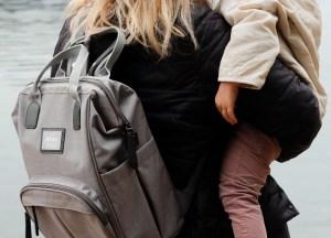 Wellington Diaper Backpack Cloud on Mom