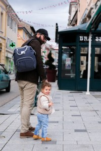 Dad Walking with Daughter using Wellington Backpack Diaper Bag Navy