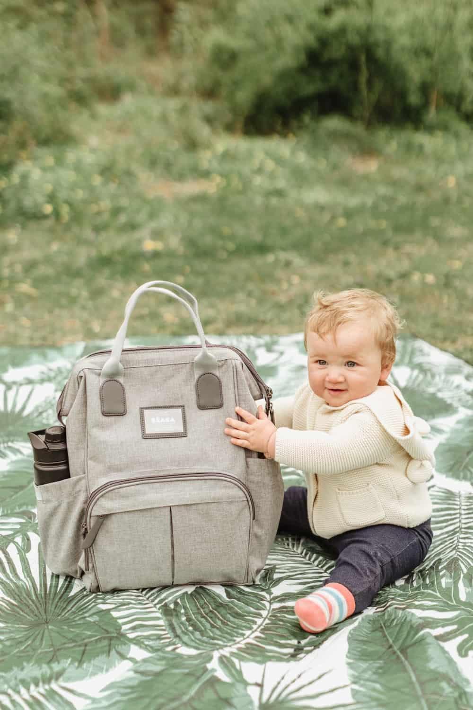 BEABA Wellington Diaper Backpack with baby