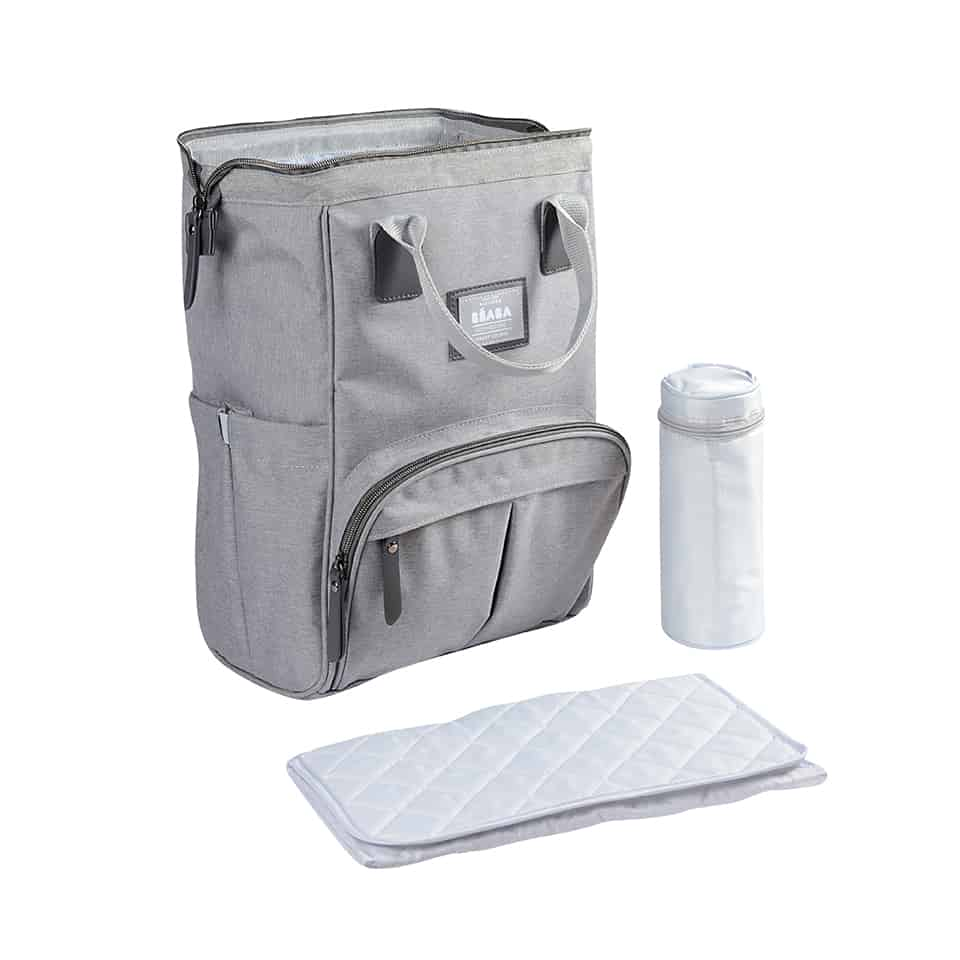 backpack with changing pad and isothermal pouch