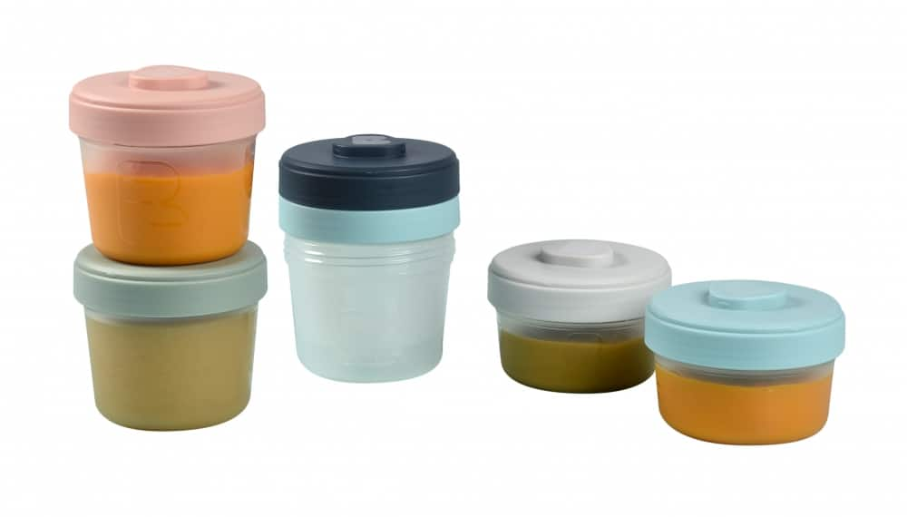 BEABA Starter Food Storage Set - 6 Clip Portions with food