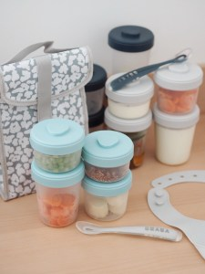 BEABA baby food clip containers on table