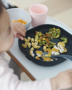 Silicone Suction Meal Set Midnight Toddler Eating From Plate