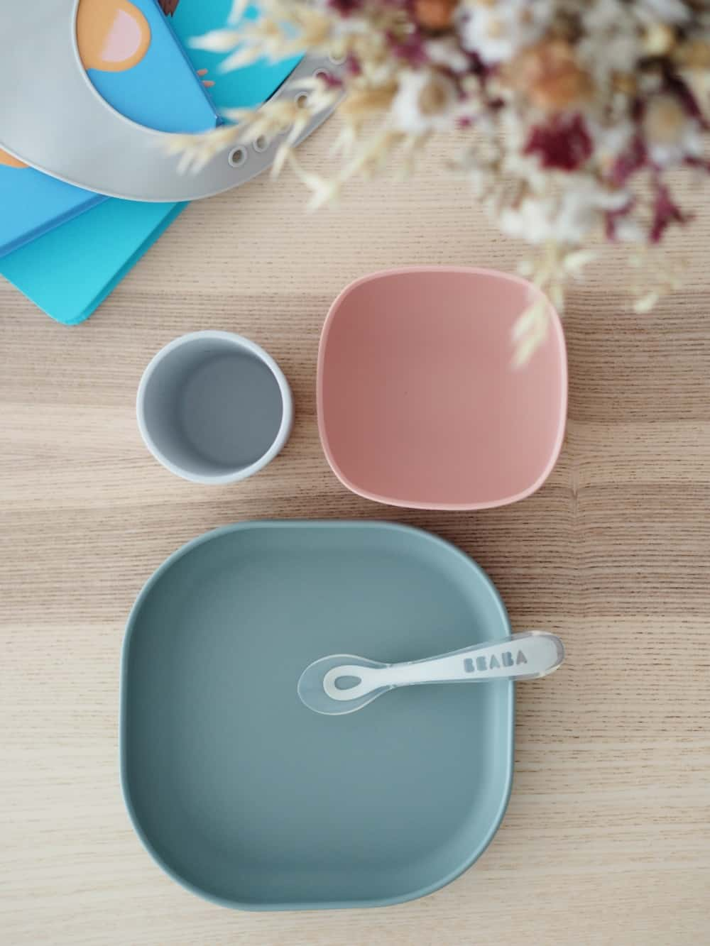Silicone Suction Meal Set Eucalyptus Overhead On Table