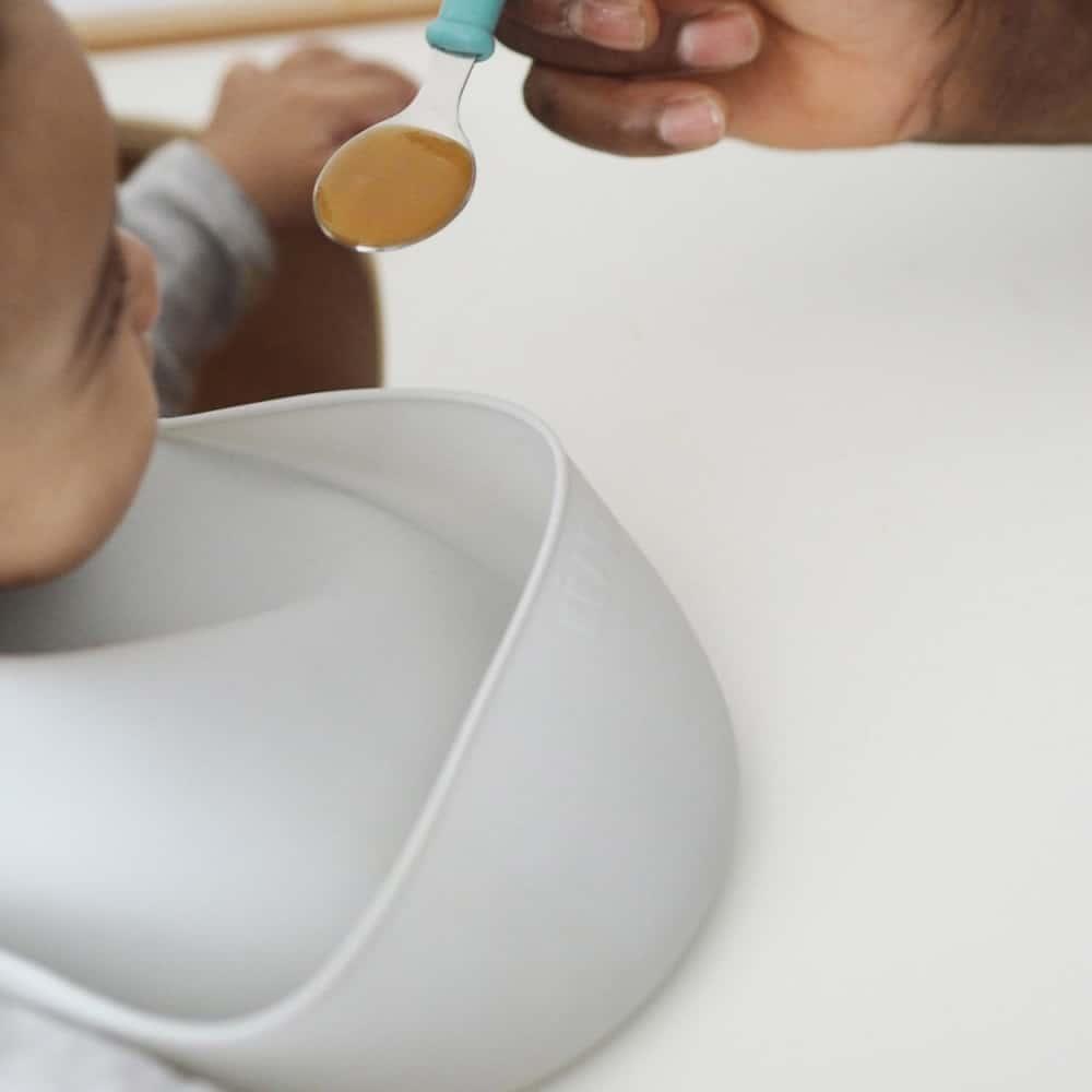 Baby Eating Wearing Silicone Bib Cloud