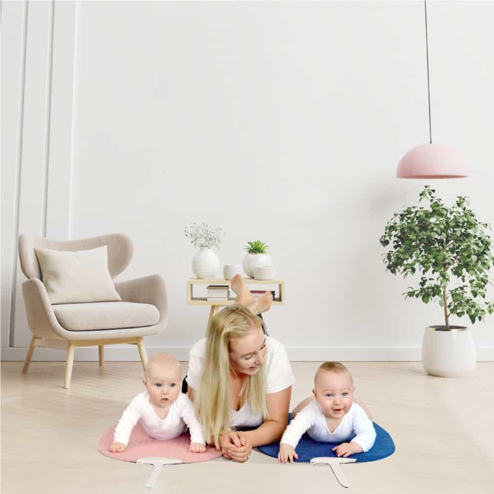 mom and babies on yoga mats
